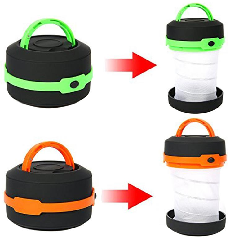 2 Pcs LED Camping Lantern Lights Rechargeable Battery Collapsible Flashlight for Outdoor Fishing/Hiking/Emergency/Adventures