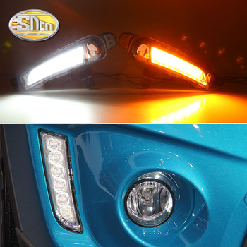 SNCN 2PCS LED Daytime Running Light For Suzuki Vitara 2015 2016 2017 2018 Turning Yellow Signal Relay Waterproof Car 12V LED DRL