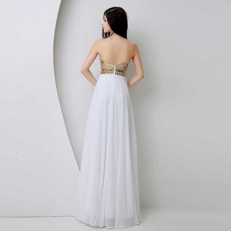 2017 Luxusní dámské luxusní modré bavlněné šaty s dlouhým - Šaty pro svatební hostiny - Fotografie 4