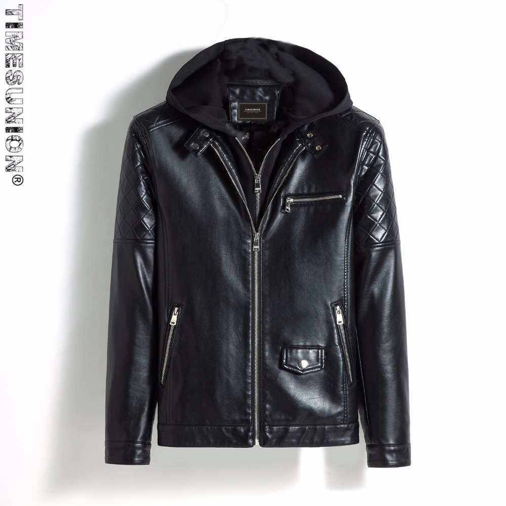 Hooded Jacket Men Brand Clothing PU Faux Leather Winter Casual Windbreaker Motorcycle Male Jackets Coat Outerwe Plus size 5XL