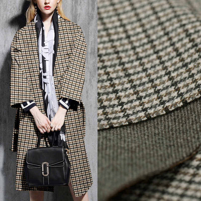 Italian import classic double sided woollen cloth plaid twill reversible wool fabric for caot  telas tissu tissus au metre DIY