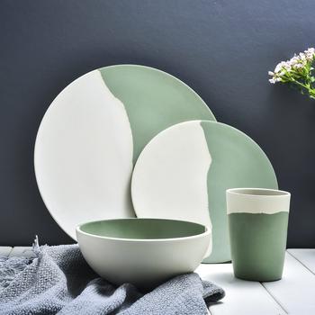 Lekoch במבוק סיבי 4 יח'\סט כלי שולחן סט ירוק ולבן צלחת במבוק אבקת סיבי כלי אוכל צלחת קערת כוס סט עבור המפלגה