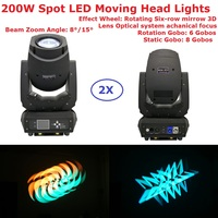 Carton Package 2Xlot 200W Gobo LED Moving Head Beam Lights Rotating Six Row Mirrow LCD Display 15 Degree Zoom Angle Fast Ship