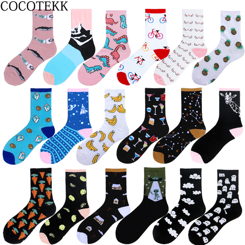 COCOTEKK Brand Korean Cute Soft Novelty Cotton Women   Socks   Alien Dinosaur Milk Lady   Socks   Women Christmas Gift Dropshipping New