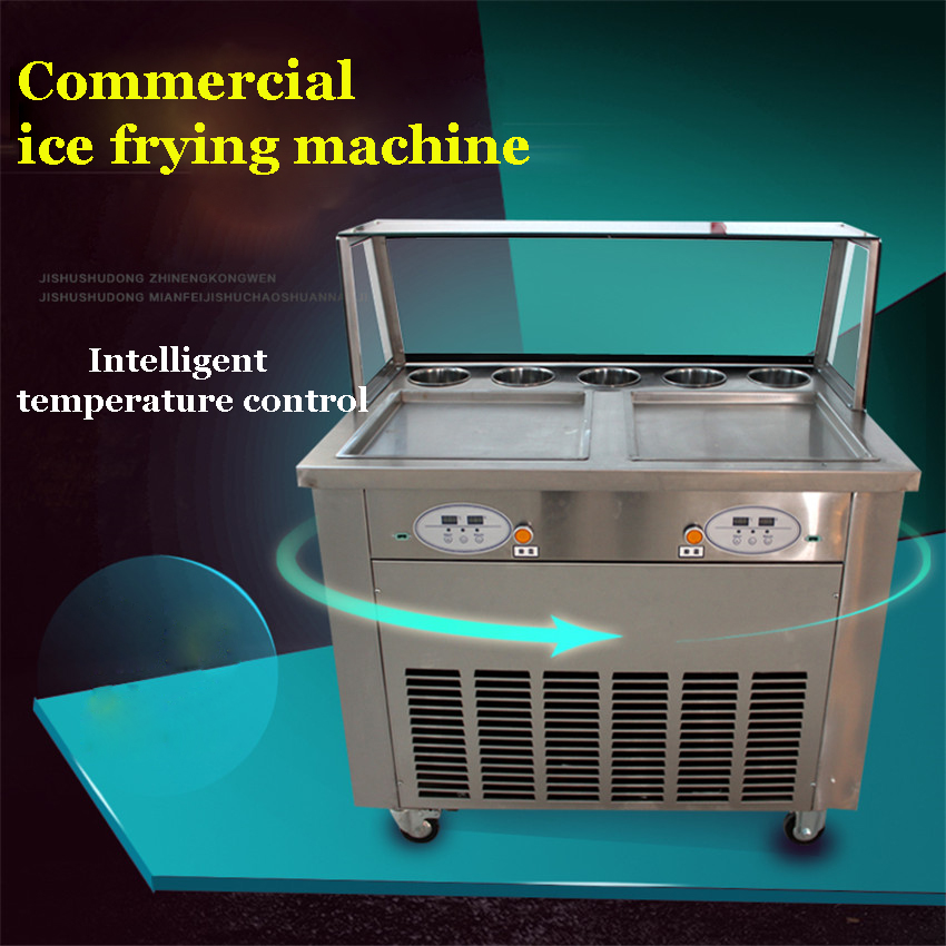 220 v 110 v 35 cm  square double pan fried ice cream machine ice cream machine roll double roll compressor milk edtid new high quality small commercial ice machine household ice machine tea milk shop