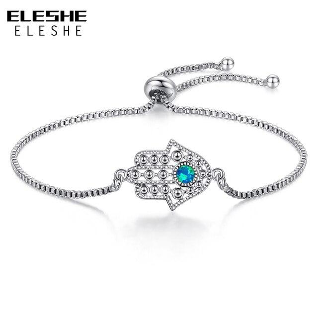 Blue Opal Crystal Lucky Eye Hamsa Bracelet Silver Charm Bracelets for Women Hand of Fatima Adjustable Bracelet Fashion Jewelry
