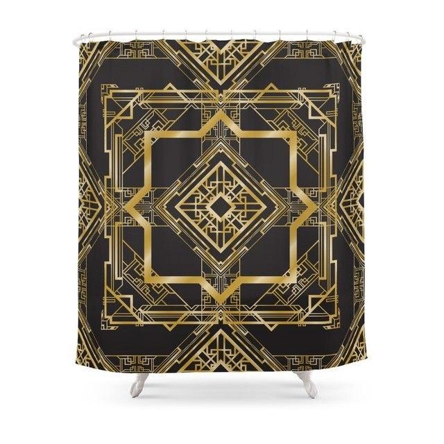 Art Deco Geometric Pattern Shower Curtain Customized Size