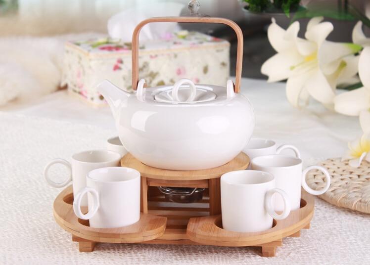 1x 9in1 Coffee Tea Set-700ml Heat-Resisting ceramic Flower Teapot+Stainless steel Tea Pot Warmer +6 ceramic Cups +Bamboo Tray super dry peach natural flower bud beauty peach tea menstruation blooming tea flower
