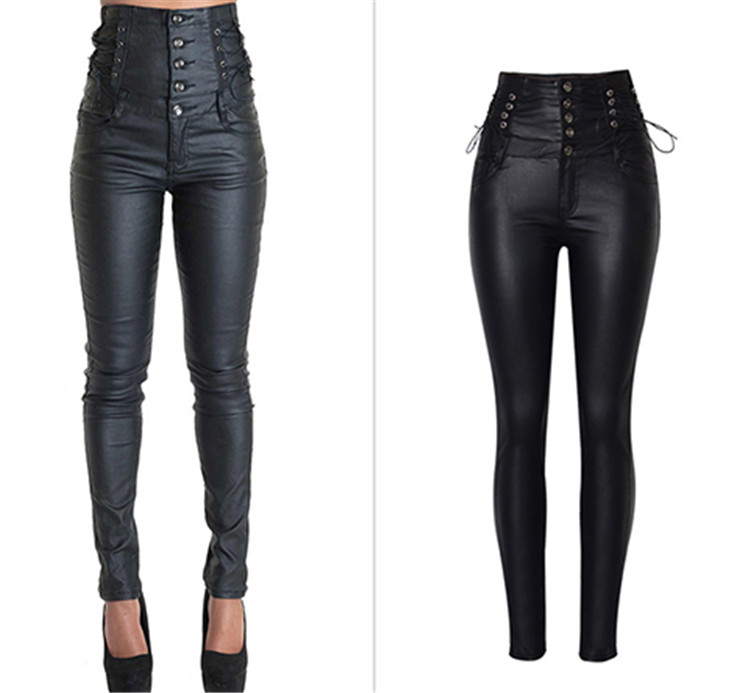 Stretch jeans stretch jeans for women\`s wear ultra high waist strap decorative coating leather stretch jeans PU large size (1)