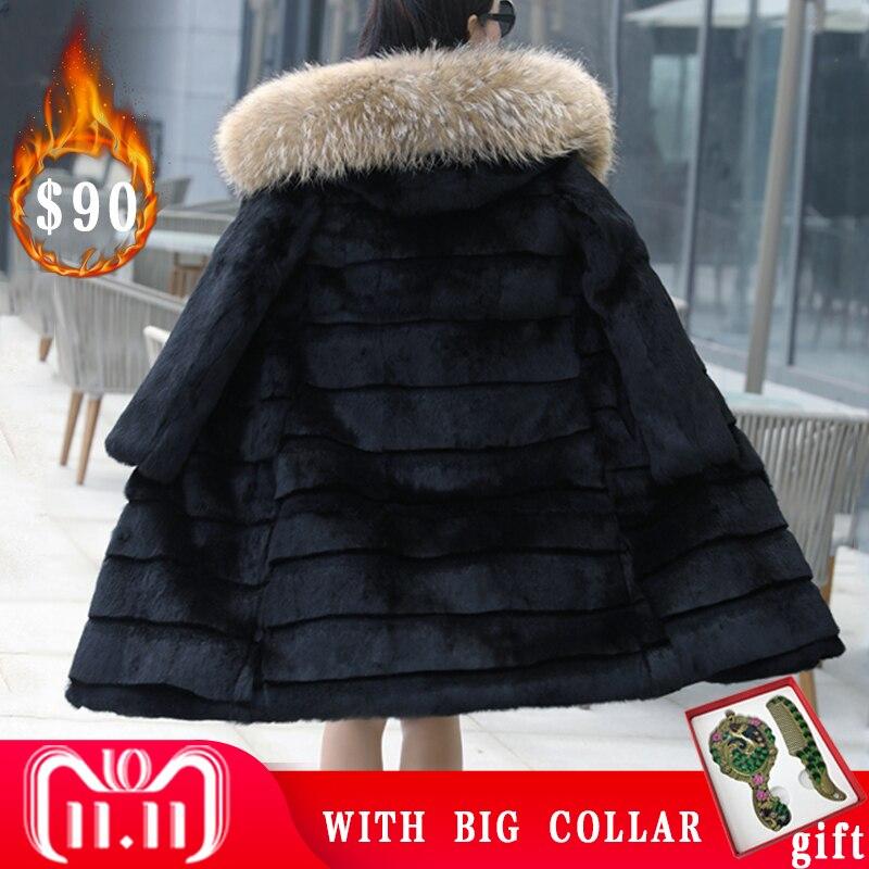 100cm 100 Real Rabbit Fur Coat With Big Raccoon Fur Trim Hood Shearing Rabbit Fur Jackets