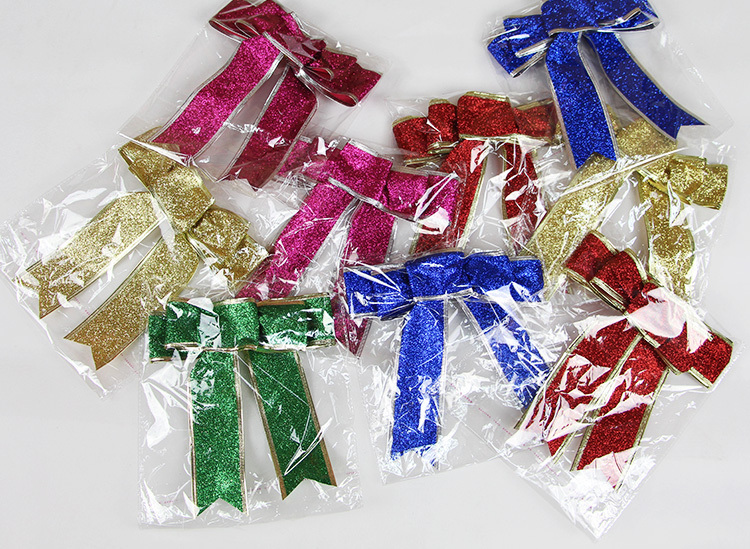 3Color Large Red Silver Guld Jul Ribbon Bow Julgransdekoration - Semester och fester - Foto 6