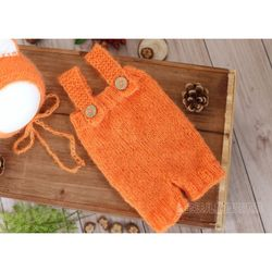 Newborn Clothes knit Romper Bonnet Outfit Crochet mohair hooded romper Set Knitted Baby Box hat Newborn photography props