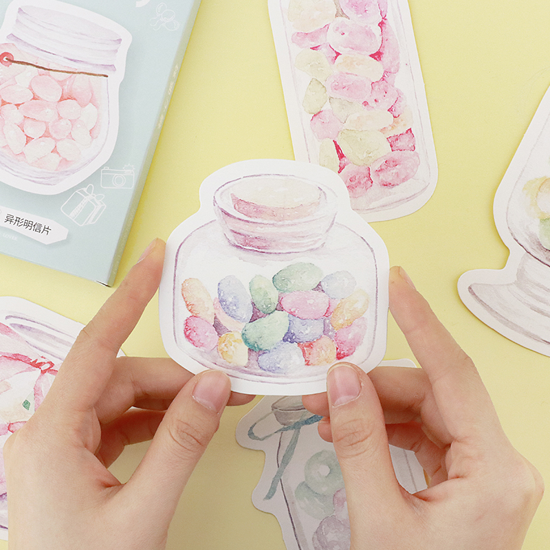30pcs/lot Korean Kawaii Colourful Candy Party Postcards Cute Message Note Paper Bookmark Photo Props Creative Stationery