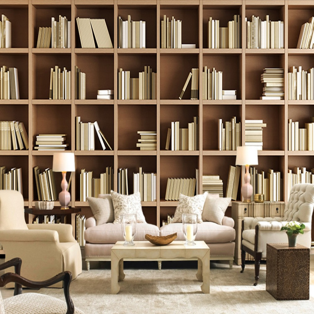 Custom mural wallpaper bookcase library living room sofa for Bookshelf mural wallpaper
