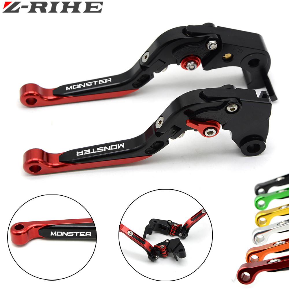 CNC Motorcycle Accessories Adjustable Folding Extendable Brake Clutch Levers for ducati 821 MONSTER / Dark / Stripe 2014-2016 billet alu folding adjustable brake clutch levers for motoguzzi griso 850 breva 1100 norge 1200 06 2013 07 08 1200 sport stelvio