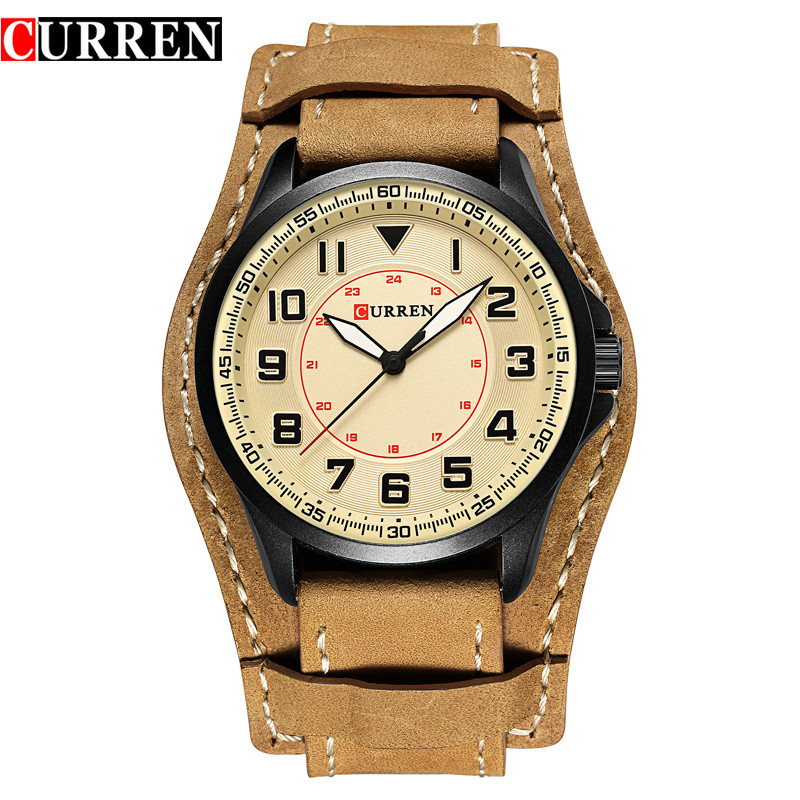 Curren Army Military Quartz Mens Watches Top Brand Luxury Leather Men Watch Casual Sport Male Clock Watch Relogio Masculino oulm mens designer watches luxury watch male quartz watch 3 small dials leather strap wristwatch relogio masculino