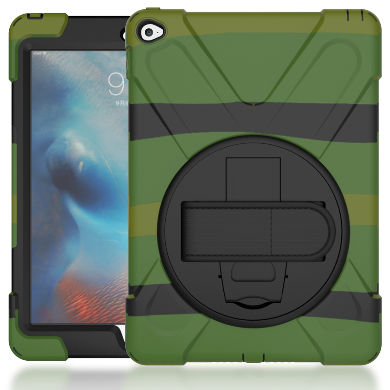 Case For IPad 6 Air2 Kids Safe Shockproof Heavy Duty Silicone Hard Cover Kickstand Hand Bracel