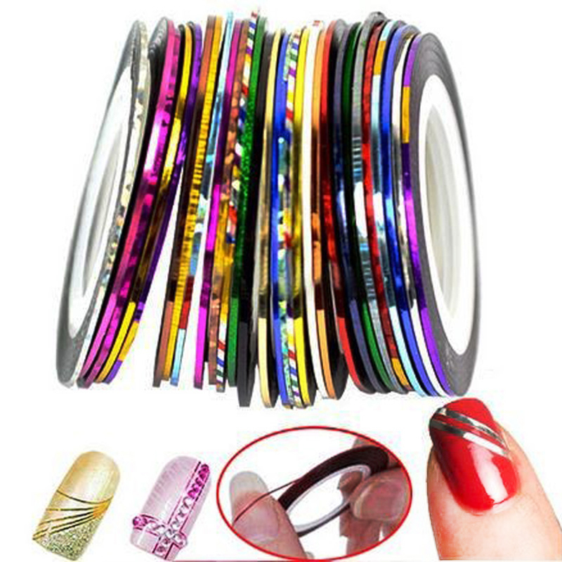 30 Colors Rolls Striping Tape Line Nail Art Sticker Tools Beauty Decorations for on Nail Stickers DIY Nails Art Tips Decoration 14 rolls glitter scrub nail art striping tape line sticker tips diy mixed colors self adhesive decal tools manicure 1mm 2mm 3mm