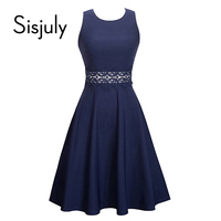 Sisjuly Vintage Women Dress Summer O Neck Sleeveless 1950s Patchwork Lace Slim Retro Lace Party Dress