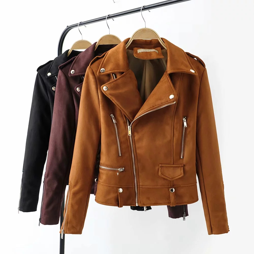 Autumn women   suede     leather   jackets fashion female slim short biker jacket chic cool Ladies bomb black coats outerwear