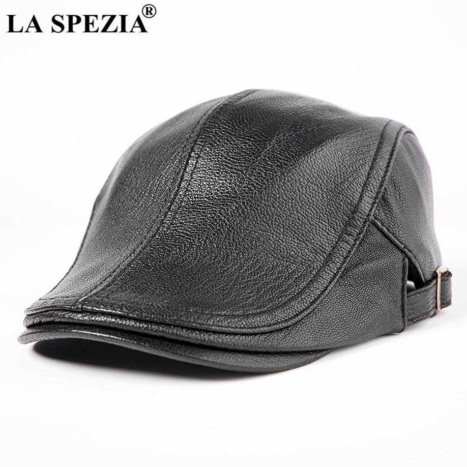 LA SPEZIA High Quality Men Duckbill Caps Black Genuine Leather Beret Cap Ivy Male Casual Spring Adjustable Driving Flat Hats