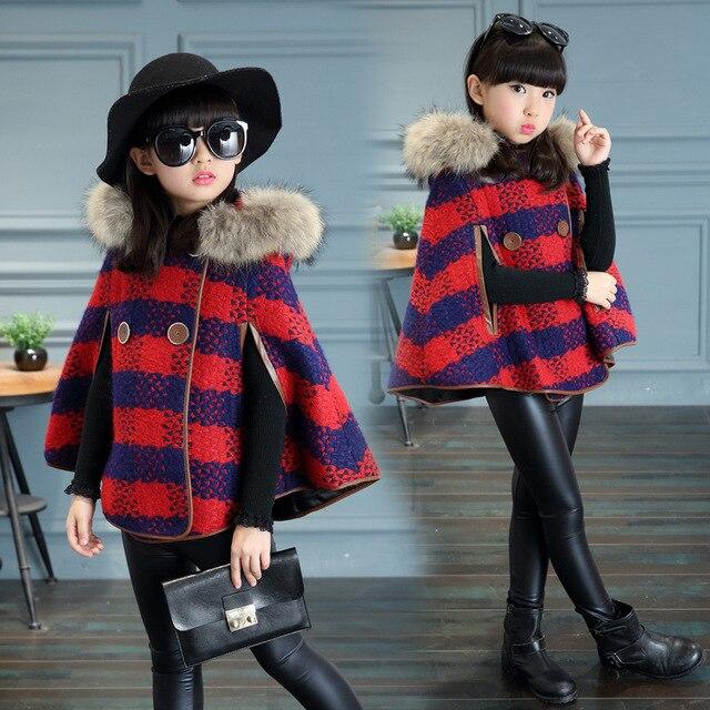 8f699af8ca83 Toddler Girl wool cape poncho winter shawl warm winter woolen coat ...