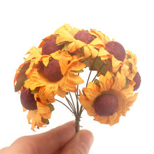 Artificial Dried Flowers Plants sunflower For Autumn Decoration Home Wedding Fake Plant Paper Craft Fleur Garden kwiaty