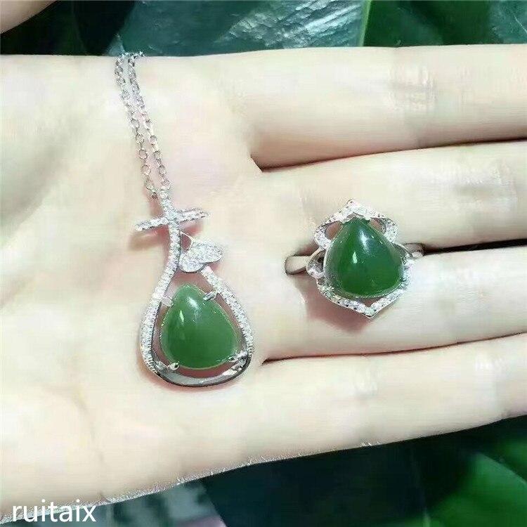 KJJEAXCMY boutique jewels 925 sterling silver inlays natural hetian jasper ring + necklace + pendant earrings set jewelry bud mi
