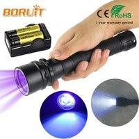 BORUIT 10 W Ultraviolet Lantaarn 3000LM 3x XPE Paars Licht Flashlamp Onderwater 100 m UV Duiken Zaklamp Zaklamp Voor 18650 batterij