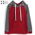 Hee grand mulheres casuais listrado hoodies nova primavera o pescoço patchwork com capuz camisolas mulheres agasalho moletom feminino www852