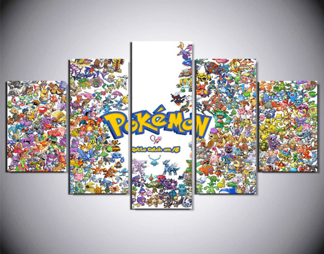 5 Piece Paints The Pokemon Wall Art Picture Modern Home Decoration Living Room Or Bedroom Canvas & 5 Piece Paints The Pokemon Wall Art Picture Modern Home Decoration ...