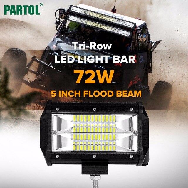 Partol 5 72w tri row led light bar flood beam offroad work light partol 5 72w tri row led light bar flood beam offroad work light 4wd aloadofball Choice Image