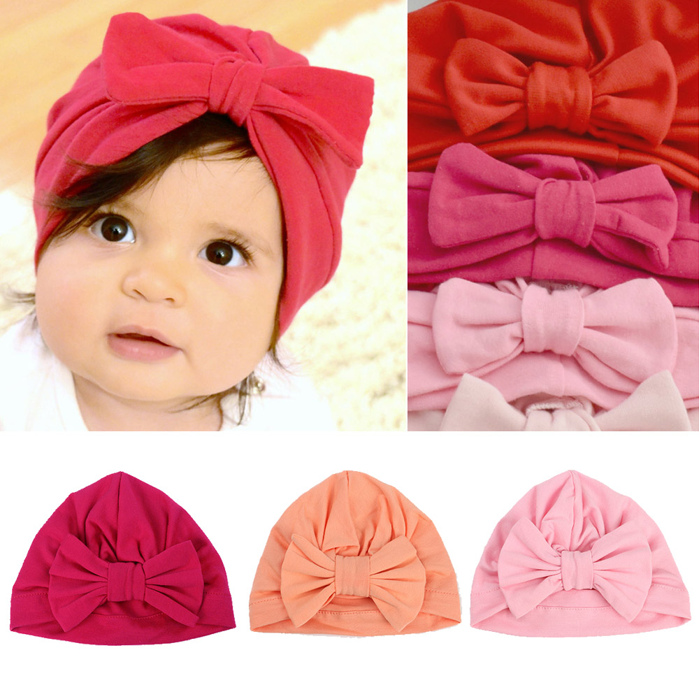 2019 Cotton Newborn Baby Top Knot Beanies Hats Boys Girls Bow Candy Color Baby Turban Cap Warm Ear Skullies Bonnet Hat(China)