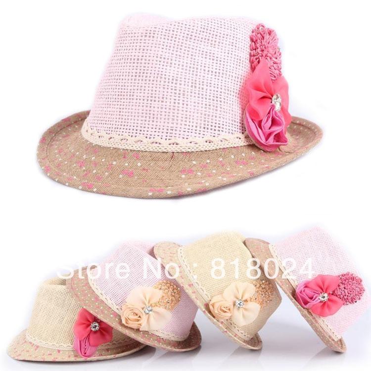 10pcs/lot Children Summer Fedora Hat, Baby Girls Flower