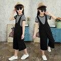 Adult Kids clothing set spring Autumn Girls Women Black Jumpsuit & Black White Stripe T-shirt kid suit