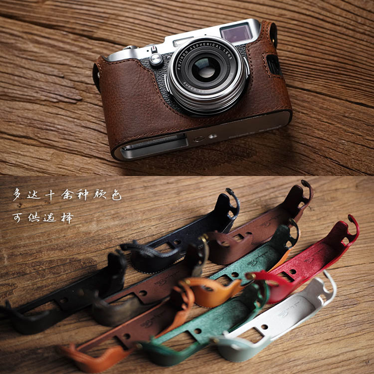 Mr Stone Genuine Leather Camera case Video Half Bag Retro Vintage Bottom Case For Fuji Fujifilm