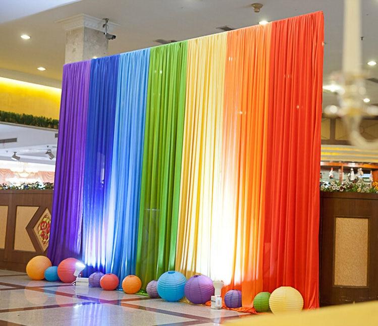 Ice Silk Rainbow Wedding Backdrop Colourful Wedding Background Party Decoration/wedding curtain/wedding drapery