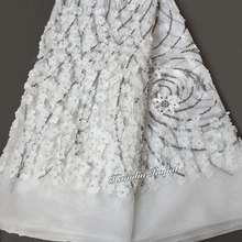 Tulle Fabric Lace-African French White Sewing-Dress Sequins Nigerian 5-Yards with Lots-Of-Beads