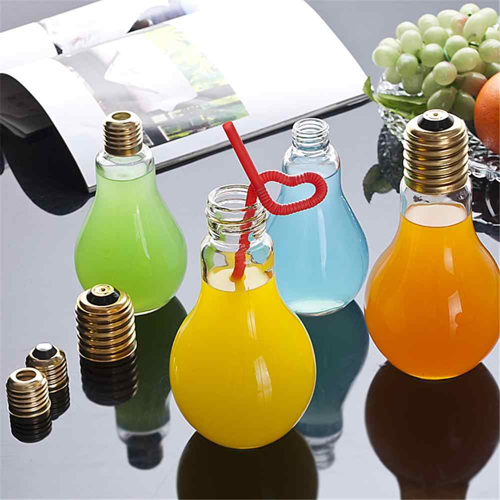 Lâmpada de verão garrafa de água de vidro inovador bebida suco garrafas de leite à prova de vazamento de luz de bebida para casa diy bebida decoração