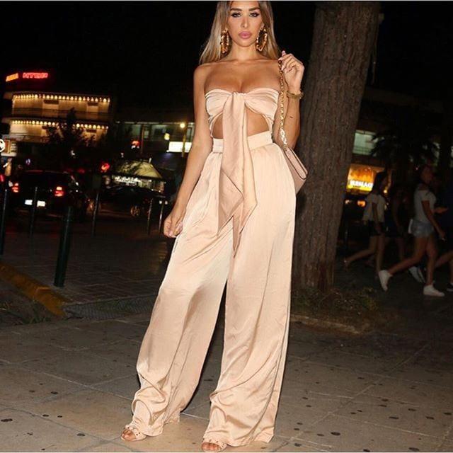 Zmvkgsoa Europen Sexy sleeveless strapless 2 piece set women crop top and  wide leg pants silk ladies backless two piece sets 3619a2b3b