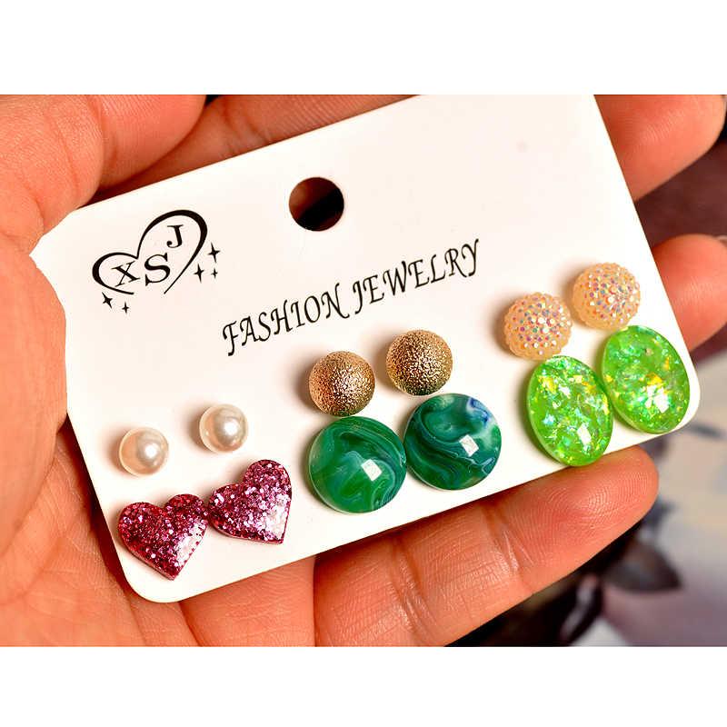 新ファッション女性ジュエリー卸売女の子パーティーパール耳スタッド美しいハートマッシュアップ 6 ペア/セットイヤリングギフト送料無料
