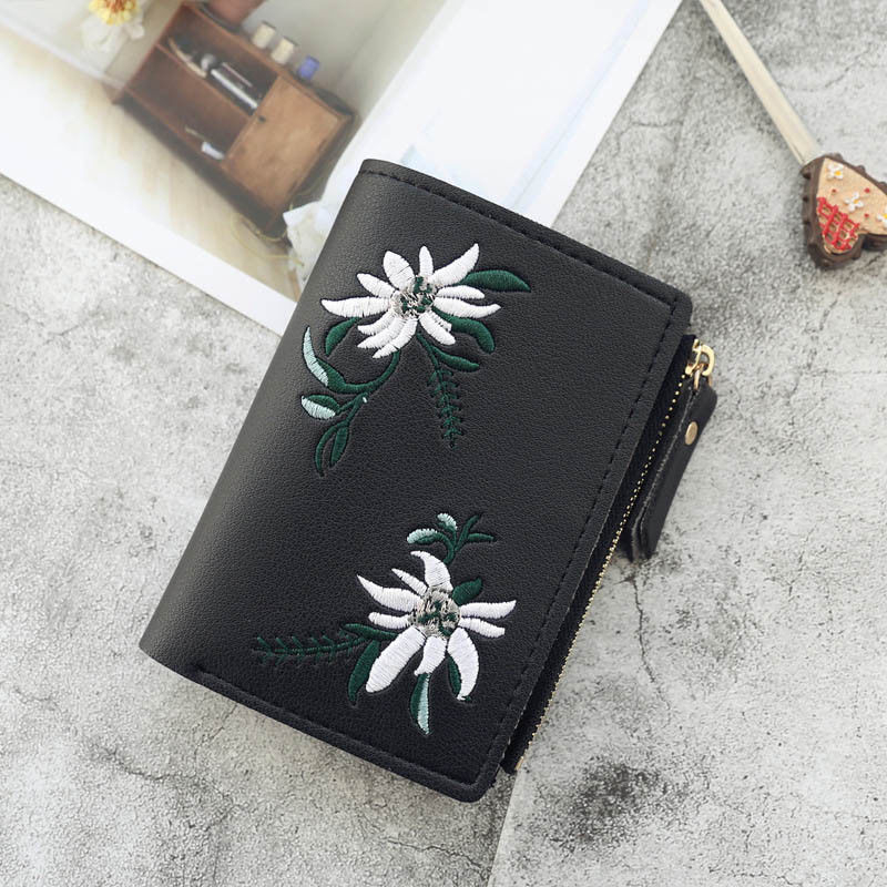 Sac Femme Women Wallet PU Leather Print Beautiful Flower Pattern Cash Pocket Photo Mini Clutch Fashion Short Purse Hot Selling