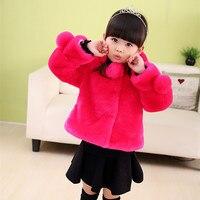 2017 Brand Girls Fur Long Sleeve Thick Coat Children Outerwear Kid School Winter Keep Warm Christmas Clothes Warm Tops Hot Sale