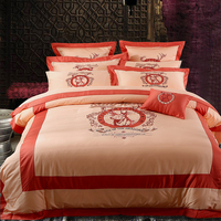 Luxury Long Staple Cotton Embroidery Black Classics Bedding Set Duvet Cover Bed Linen Bed Sheet Pillowcase