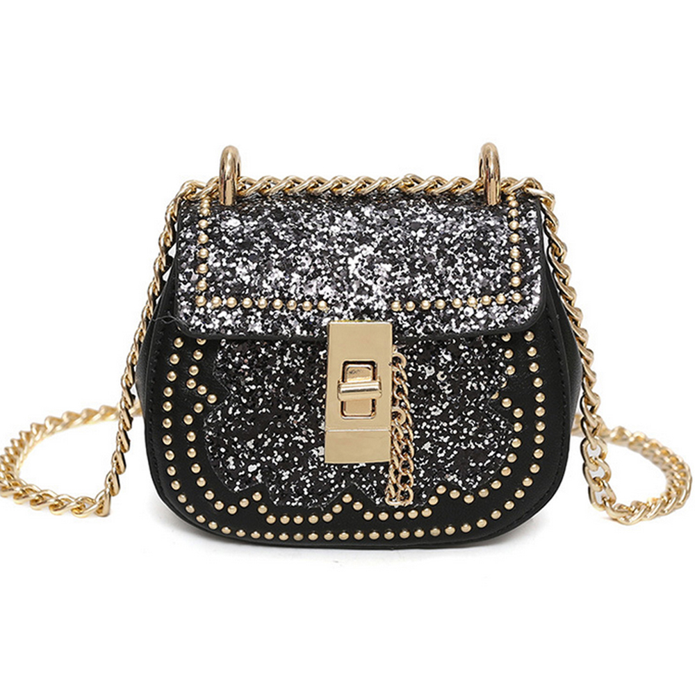 SFG HOUSE Sequins Mini Handbags Purses Women PU Leather Messenger Bag Shoulder Bag 2017 Chain Crossbody Bag Bolsa Feminina Black sfg house 3 piece set women vintage purses shoulder bags fashion 2017 female handbag pu leather tote messenger bag crossbody bag
