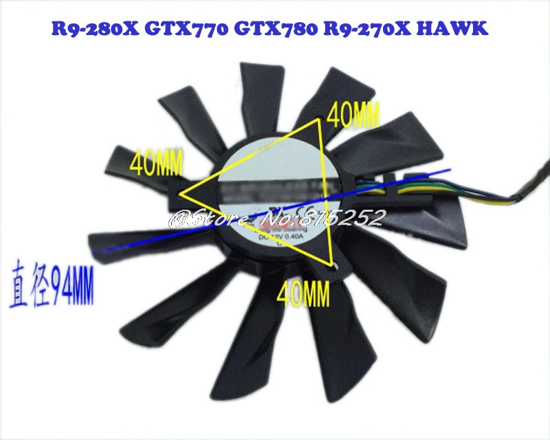 Laptop Silent Graphics Card <font><b>Fan</b></font> For MSI <font><b>R9</b></font>-280X GTX770 GTX780 <font><b>R9</b></font>-<font><b>270X</b></font> HAWK New and Original image
