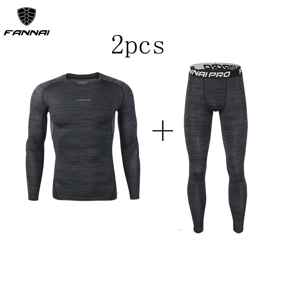 Image 2 - New 3Pcs Running Set Mens Quick Dry Men Compression Sport Suit Fitness Tight Gym Clothing Jogging Suit Workout Mens Sportswear-in Running Sets from Sports & Entertainment on AliExpress