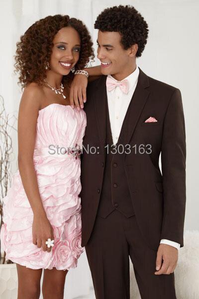 2016 Price Chocolate Brown Groom Tuxedos Best Man Suits Groomsmen Men Wedding Suits (Jacket+Pants+Vest+Tie)Free Shipping