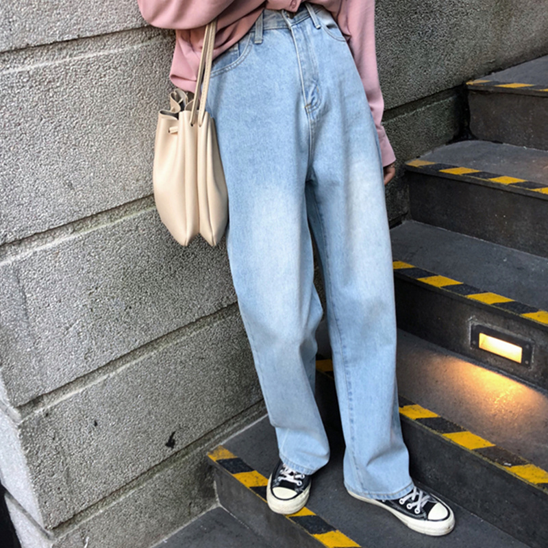 Qiukichonson Vintage Wide Leg Women Jeans 2019 Korean Fashion Casual Light Blue High Waist Loose Washed Straight Jeans