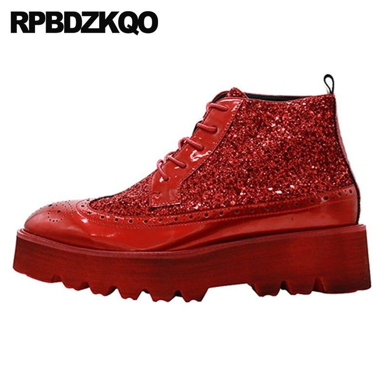 Negro Harajuku Brogue rojo Gruesa Glitter Único Alto Del Negro De Zapatos Grano Hombre Patente Plataforma Suela Top Ala Completo Botas Botines FqH16wFr